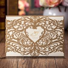 Photo Card Wedding Invitations Amazon Com Wishmade Laser Cut Invitations Cards Sets Gold 50