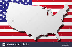 A United States Map by 3d Rendering Of A United States Map And A Flag Stock Photo