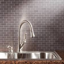 amazon com aspect peel and stick backsplash 12 5in x 4in subway amazon com aspect peel and stick backsplash 12 5in x 4in subway stainless matted metal tile for kitchen and bathrooms 3 pack home improvement