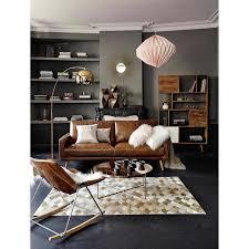 maison du monde coussin de sol canapé 3 places en cuir marron cognac hooper maisons du monde