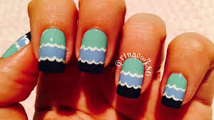 easy summer nail art beach waves youtube