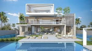 awesome three story open facade design with front pool design