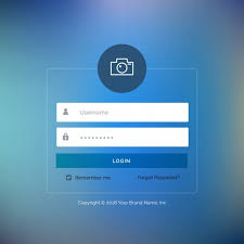 Log In Web Login Template With Blue Button Vector Free