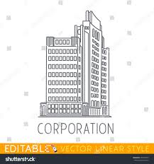 corporation business building big company sketch stock vector
