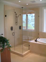 bathroom spectacular bronze freestanding head shower frameless