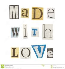 made with love cutout newspaper letters stock photo image 39010487