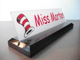 Wall Mounted Nameplate Holders Teacher Name Plate Dr Seuss Personalized Wood Desk Sign 10 X