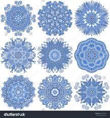 set circle winter ornament round geometric stock vector 212230135