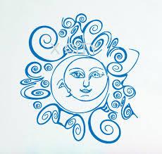 crescent moon sun ethnic symbol sky wall decals vinyl