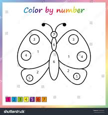 butterfly painting page color by numbers stock vector 626589356