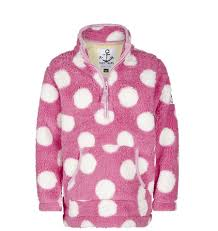 fuschia lazy jacks lazy jacks childrens quarter zip spotty snug top