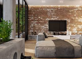 exposed brick wall lighting brick wall decorating ideas brown leather sectional sofa features