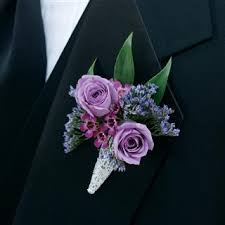 boutonniere flower purple roses and wax flower boutonniere 37 00 www