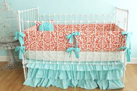 and coral baby bedding