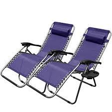 xtremepowerus navy blue zero gravity chair set of 2