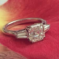 vintage asscher cut engagement rings wedding promise diamond