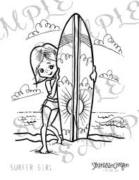 surfer coloring page instant digital download