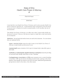 Medical Power Of Attorney Responsibilities by Ohio Health Care Power Of Attorney 2016 Form Best Attorney 2017