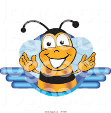 royalty free vector logo of a cartoon bee mascot rendered with