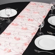 pink rosette table runner x 108 in rosette sequin table runner blush pink