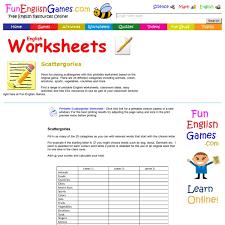 scattergories with categories printable worksheet pearltrees