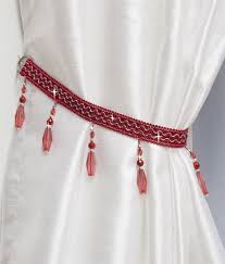 beaded curtain tie back red