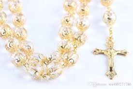 gold cross rosary necklace images 20 inches gold cross pendant rosary necklace high quality 10mm jpg