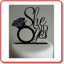 ring cake topper engagement acrylic cake topper she said yes black with silver