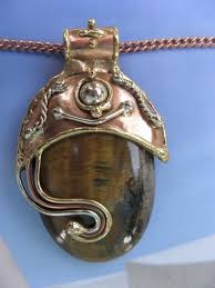 solid copper necklace images Solid copper nickel and brass pendant with a tiger 39 s eye stone jpg&a