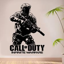 aliexpress com buy removable wall decal army call of duty aliexpress com buy removable wall decal army call of duty infinite warfare warfighter ps4 gamer vinyl sticker wall art decor house poster ny 298 from