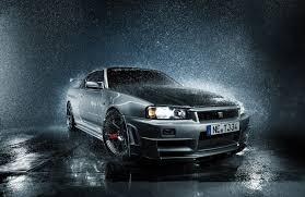 nissan skyline desktop wallpaper picture nissan skyline r34 gtr silver color rain drops auto front