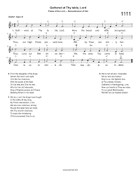 hymns of thanksgiving and praise hymn gathered at thy table lord