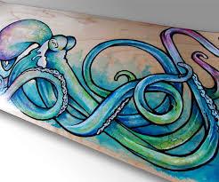 octopus art skateboard decor surf art nautical decor sea