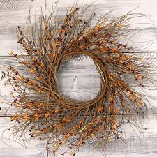twig wreath wreaths picks and garlands country primitive pip berry home