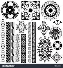 vector set illustrations symbols ornaments black stock vector