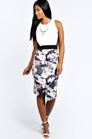 boo hoo clothing talia floral contrast asymetric midi bodycon dress boohoo