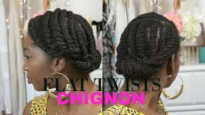 natural protective style updo chunky flat twists chignon