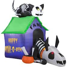 gemmy airblown inflatable 35 x 45 skeleton dog and cat halloween