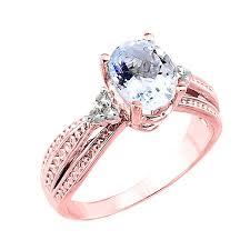 aquamarine and diamond ring 14k gold diamond band oval aquamarine engagement ring