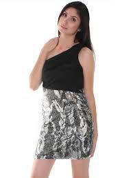 one shoulder chiffon sequin party dress sung boutique l a