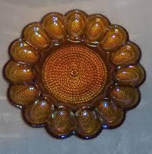 carnival glass egg plate vintage indiana glass carnival glass hobnail deviled egg
