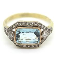 art deco aquamarine and diamond ring antique jewellery uk