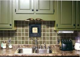 olive green tiles backsplash for kitchen with square shaped design