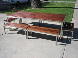 Steel Patio Table Los Angeles Custom Made Modern Steel And Wood Outdoor Table And