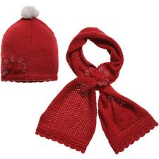 mayoral girls red hat u0026 scarf set with silver flowers
