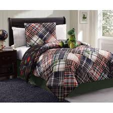 Twin Plaid Comforter Furry Friends 3 Piece Dinosaur U0026 Plaid Comforter Set