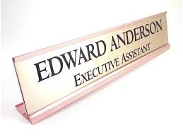 personalized desk name plate nameplate gold look with gold