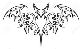 vector tattoo bat tribal design element halloween illustration