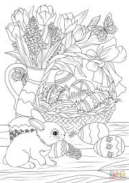 easter basket with eggs coloring page easter basket decorated with eggs flowers bunny and pastry