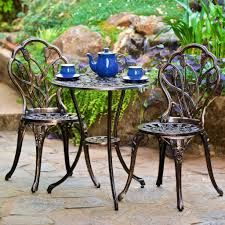 Wrought Iron Patio Bistro Set Lawn Garden Beautiful Cast Aluminum Outdoor Bistro Set Antique